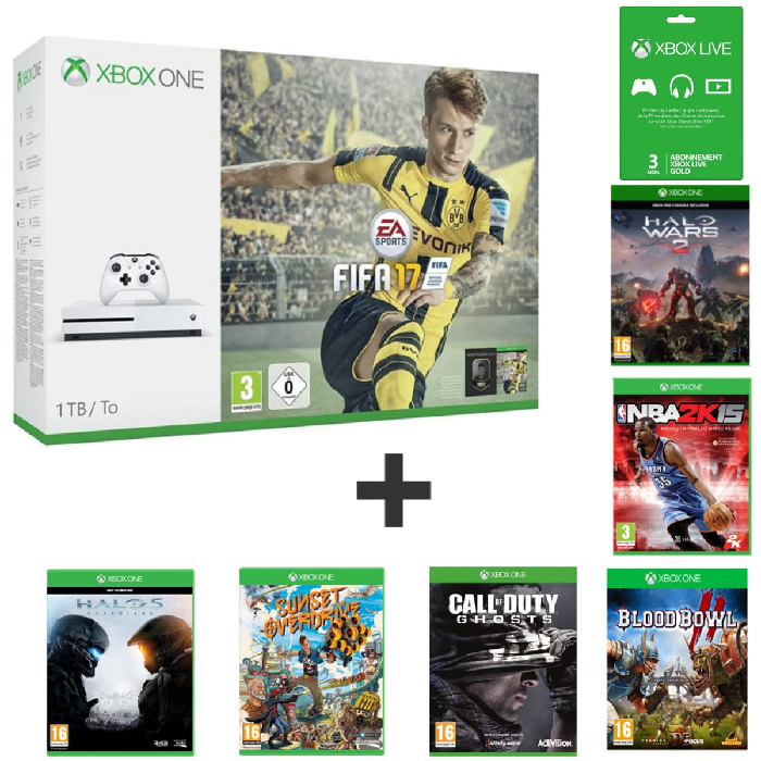 xbox one s fifa 17 pas cher 7 jeux 269 euros. Black Bedroom Furniture Sets. Home Design Ideas