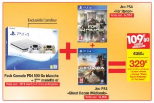Pack console PS4 Carrefour 2 manettes 2 jeux   ChocoBonPlan com