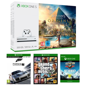 pack xbox one s 4 jeux 229 99 euros. Black Bedroom Furniture Sets. Home Design Ideas