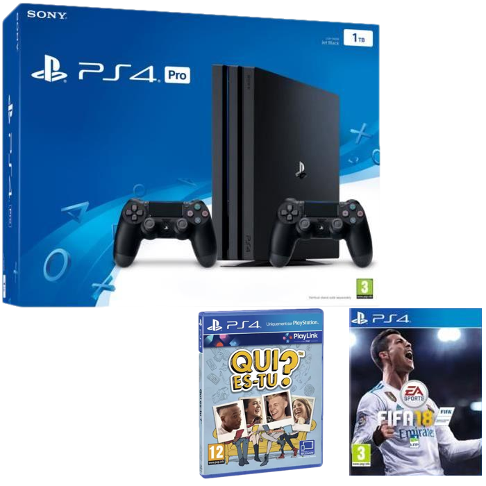 bon plan ps4 pro 2 manettes fifa 18 419 i. Black Bedroom Furniture Sets. Home Design Ideas