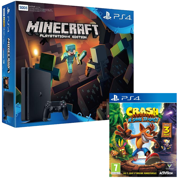 bon plan ps4 slim crash bandicoot minecraft 299 euros. Black Bedroom Furniture Sets. Home Design Ideas