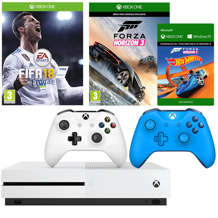 xbox one 2 manettes fifa 18 forza horizon 3 dlc 299 euros. Black Bedroom Furniture Sets. Home Design Ideas