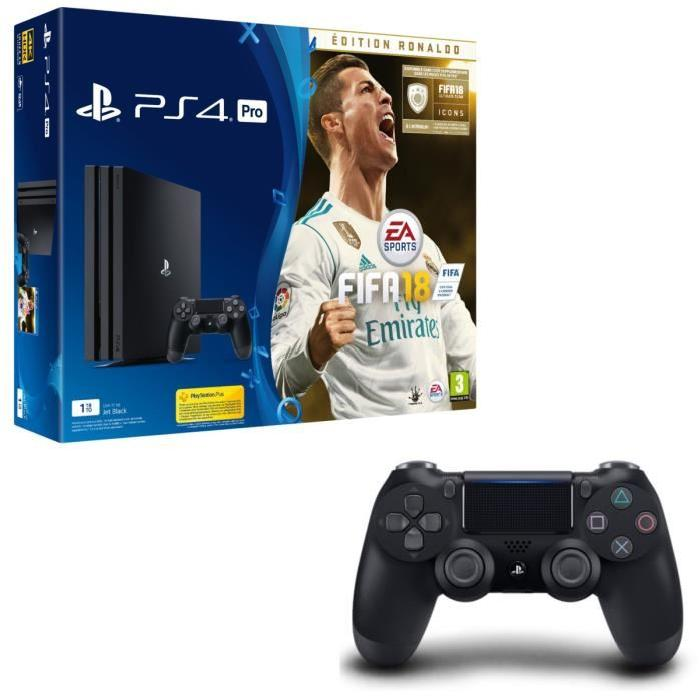 pack ps4 pro fifa 18 ronaldo 2 manettes 429. Black Bedroom Furniture Sets. Home Design Ideas