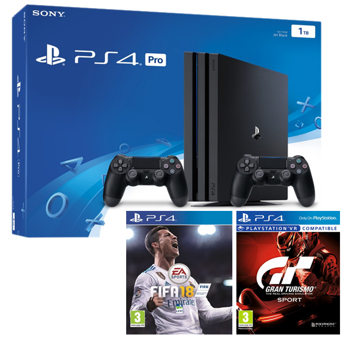 pack ps4 pro 2 manettes fifa 18 gran turismo. Black Bedroom Furniture Sets. Home Design Ideas
