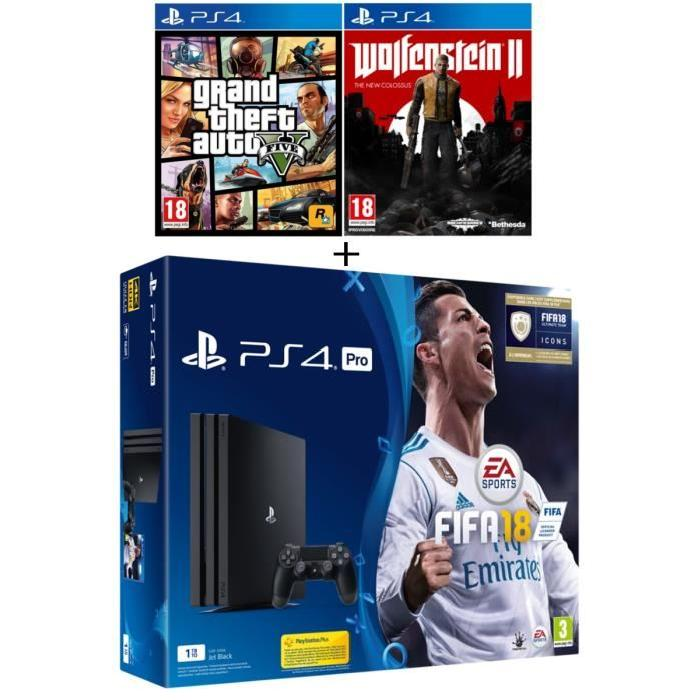 pack ps4 pro fifa 18 2 jeux 399 99 euros. Black Bedroom Furniture Sets. Home Design Ideas