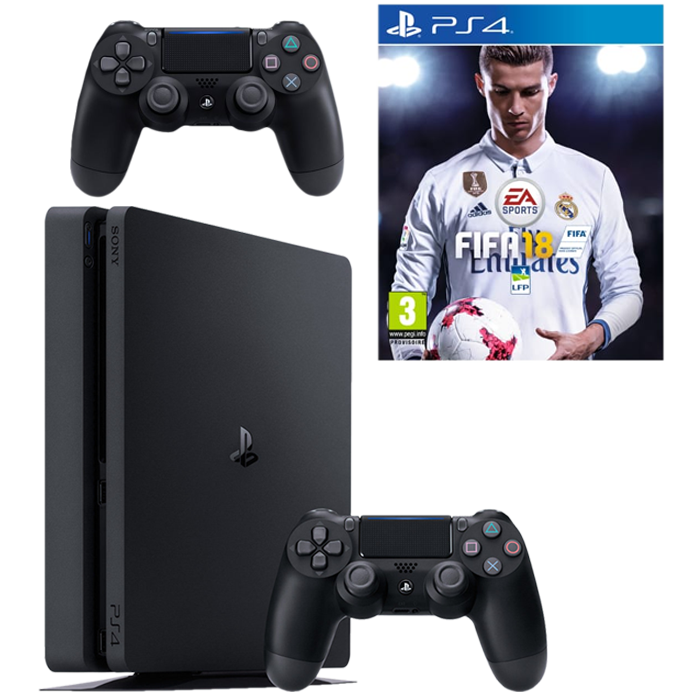ps4 slim fifa 18 2 manettes pas cher d s 299. Black Bedroom Furniture Sets. Home Design Ideas