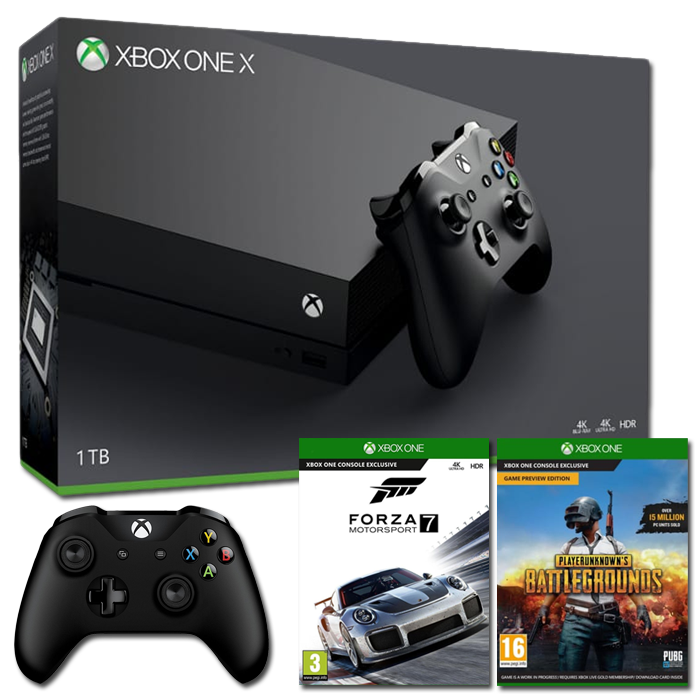 xbox one x 2 manettes forza 7 pubg 499. Black Bedroom Furniture Sets. Home Design Ideas