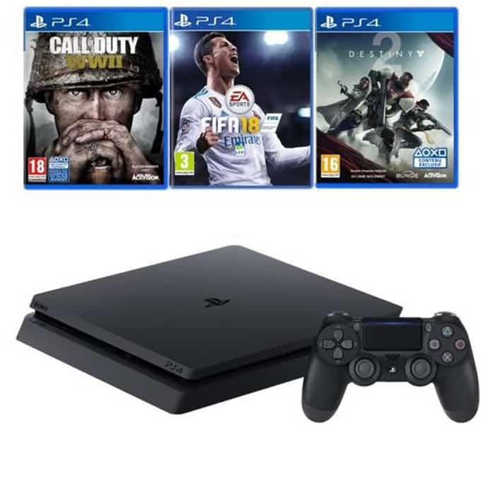 ps4 slim 1 to avec 3 jeux disponible 399 99 euros. Black Bedroom Furniture Sets. Home Design Ideas