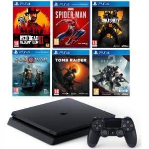 PS4 Slim 1 To + 6 jeux (Red Dead Redemption 2, Spider-Man