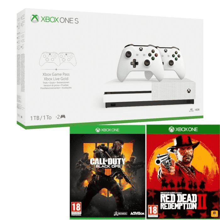xbox one s 1 to 2 manettes cod black ops 4 red dead redemption 2. Black Bedroom Furniture Sets. Home Design Ideas