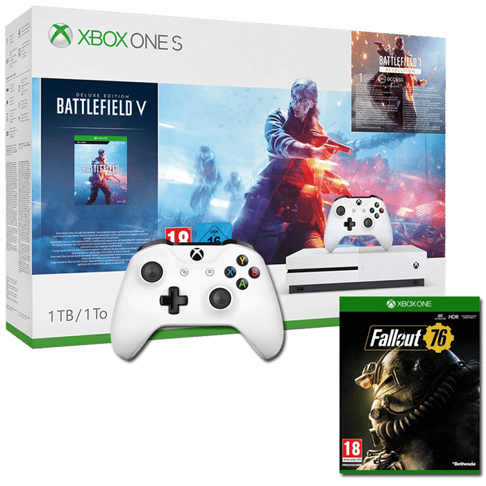 xbox one s 1 to 2 manettes battlefield 5 fallout 76. Black Bedroom Furniture Sets. Home Design Ideas