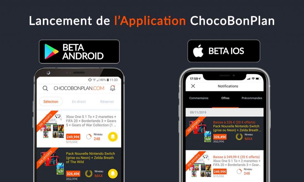 SLIDER lancement version beta application chocobonplan v1