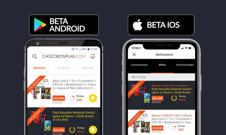 SLIDER lancement version beta application chocobonplan v3