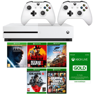 xbox one s 5 jeux 2 manettes star wars jedi fallen order rdr 2 gta 5 gears 5 forza 4