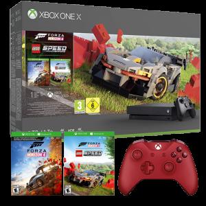 xbox-one-x-forza-horizon-lego-2-manettes-et-jeux Rouge