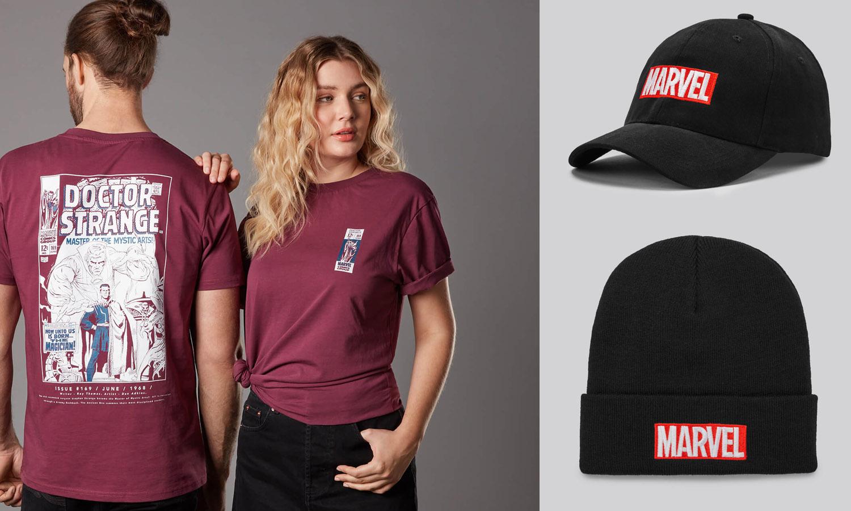promo t shirt avec casquette ou bonnet marvel slider