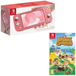 switch lite corail avec animal crossing new horizons promo visuel produit