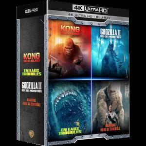 Coffret Films de Monstres Blu ray 4K Godzilla Rampage Kong en eaux troubles