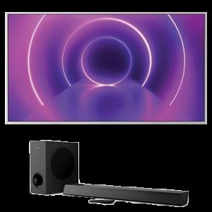 visuel produit promo TV 4K Philipps 70PUS8545 avec barre de son offerte
