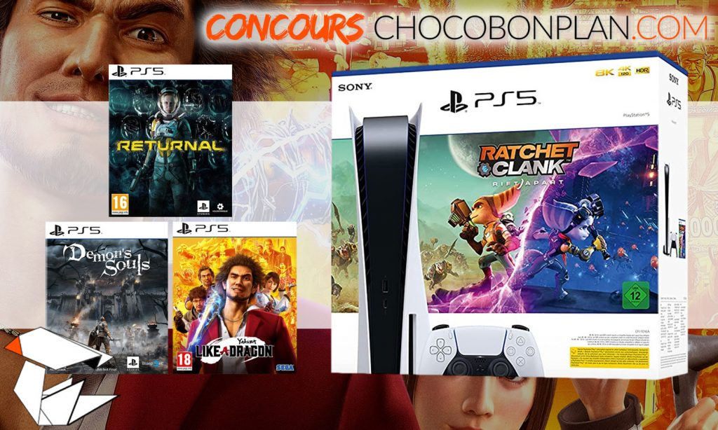 SLIDER concours chocobonplan juillet 2021 pack ratchet + 3 jeux yakuza demon souls returnal