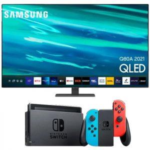 pack tv samsung qled avec nintendo switch néon