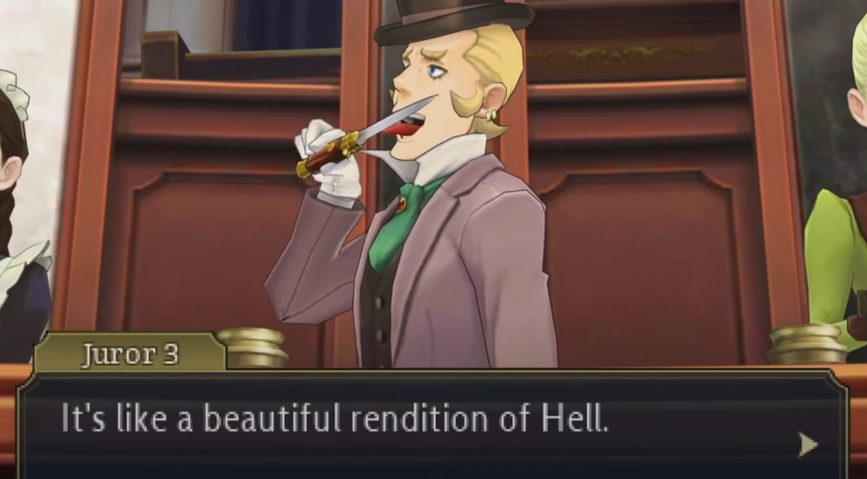 screenshot personnage loufoque test great ace attorney chronicles