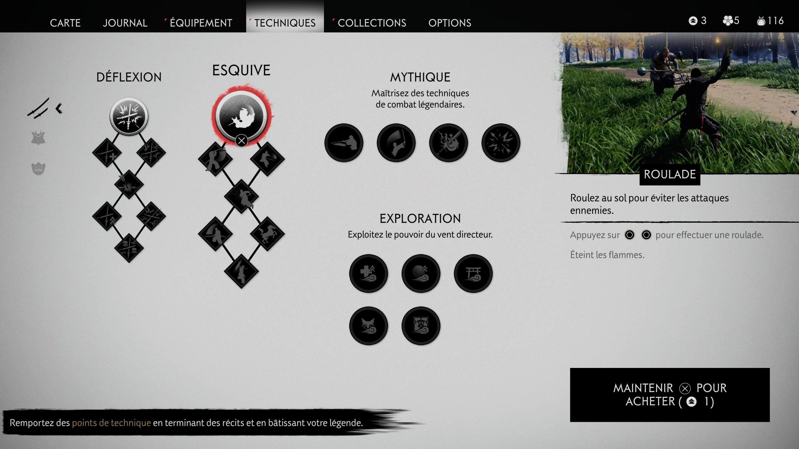 test ghost of tsushima ps5 visuel 7 menu combos